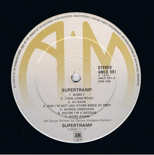 Supertramp Supertramp Vinyl Record Lp 1970 Planet Earth